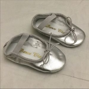 Dance Class Silver Leather Ballet Girls Shoes (A9)